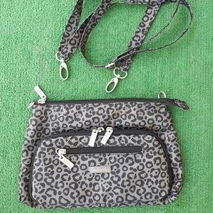 Baggallini Gray & Black Leopard Print Travel  Bag.